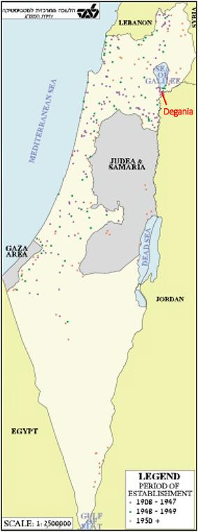 Carte des kibboutz en Israel fournie par le Central Bureau of Statistics (2000)