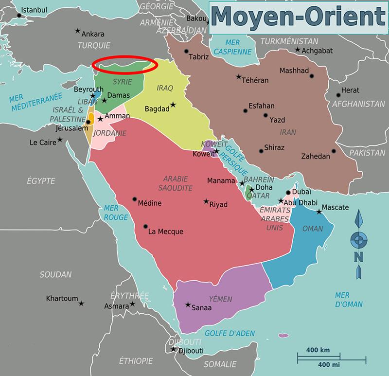 Localisation du Rojava dans la Syrie et dans le Moyen-Orient