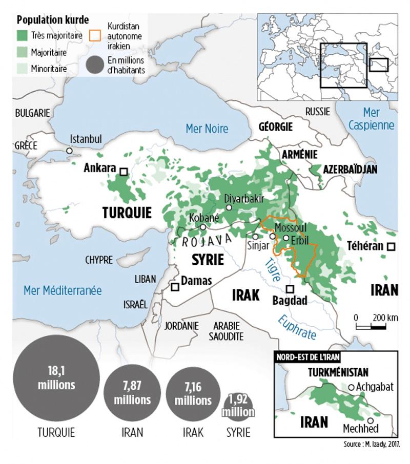 Carte de 2017 montrant l'implantation des population kurdes au Moyen Orient