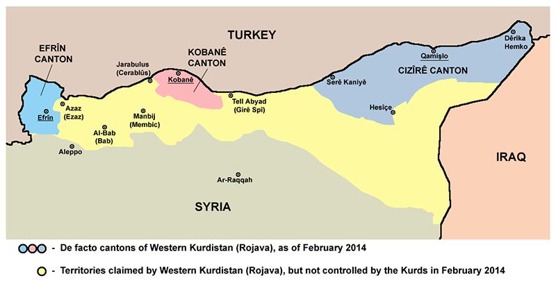 Carte du Rojava en 2014 et ses 3 régions autonomes avant la mise en place de la Fédération Démocratique de la Syrie du Nord