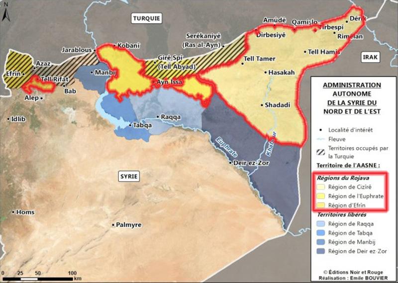 Carte de la Fédération démocratique de la Syrie du Nord en 2020