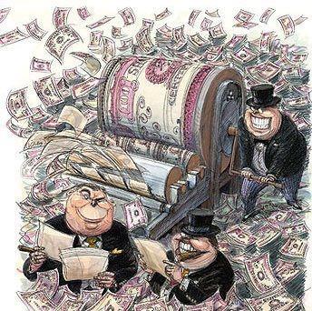 Dessin de capitalistes faisant tourner la planche à billets