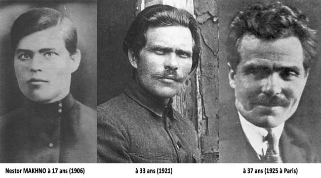 Nestor Makhno à 17, 33 et 37 ans