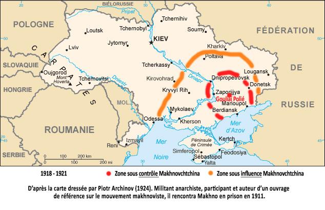 Carte de l'Ukraine actuelle comprenant les foyers de l'insurrection libertaire du mouvement makhnoviste