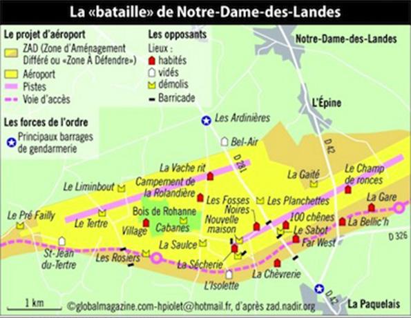 Carte de la ZAD Notre Dame des Landes en 2013